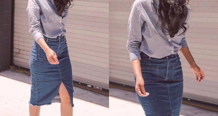 4573cf2b50cd Čo nosiť s džínsovou ceruzkou sukne  ako kombinovať
