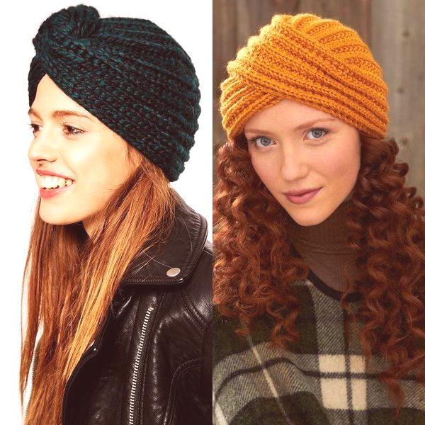0c2ad3f72 Módne pletené čiapky na jeseň a zimu v tmavých odtieňoch - módne turbany sú  prezentované v čiernej, tmavomodrej, tmavosivej, hnedej farbe.