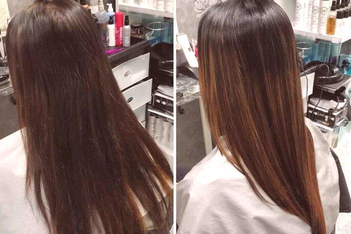 Teindre balayazh sur cheveux noirs